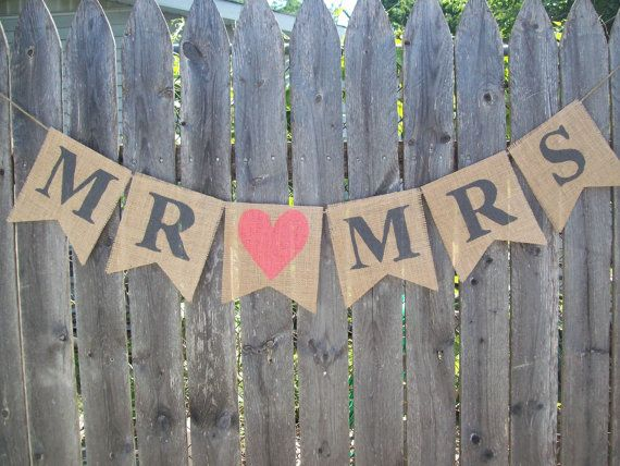 MR and MRS CORAL and Charcoal Gray Rustic Burlap Banner Photo Prop Sign Garland Country Chic Wedding Reception on Etsy, $20.00