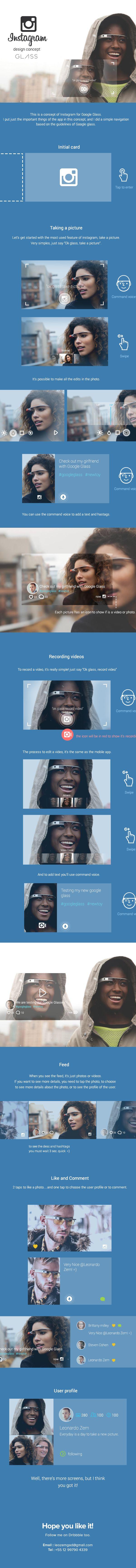 Instagram for Google Glass by Leonardo Zem, via Behance