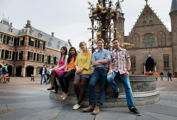 Five of our International Studies first year students (2012-2013) at the Binnenhof government buildings.