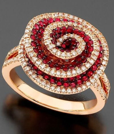 14k rose gold ruby and diamond ring, $3,000 at Macys a little extravagant.. but pretty nonetheless.