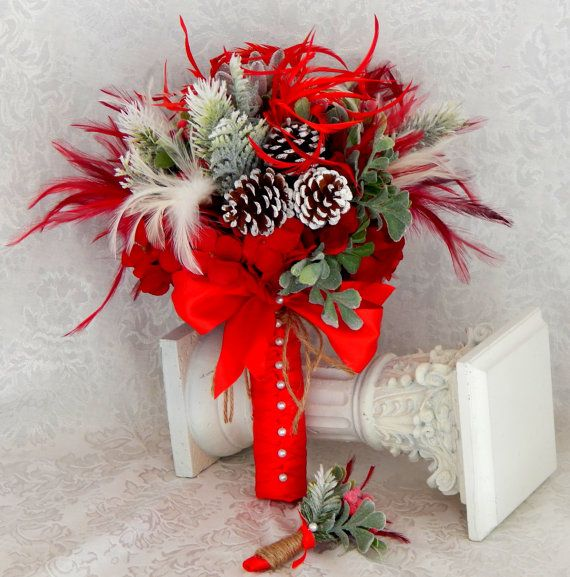 Christmas Wedding Bouquet- Red Winter Wedding - Brooch Feather Bouquet- Winter Wedding- Bohemian- Ready To Ship
