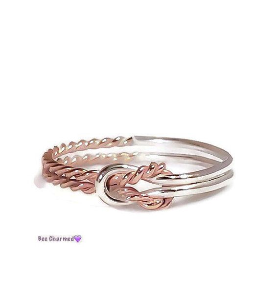 Rose gold, sterling silver, Double knot ring, sailor knot ring, buckle ring, bridesmaid gift, two tone ring