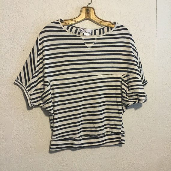 1980s Striped Nautical Slouchy Short Dolman Sleeve Top ~ M by kitschbitchvintage