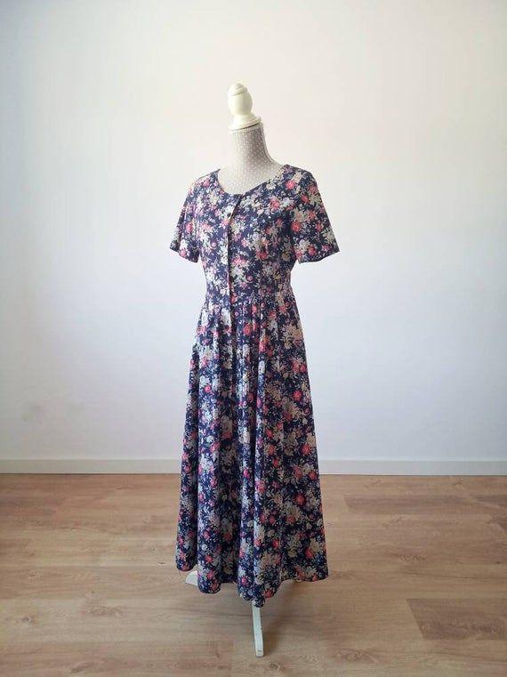 Reserved Laura Ashley Dress Size 10us 14 Uk Floral Cotton Etsy Vintage Designer Clothing Vintage Cotton Dress Floral Cotton Dress