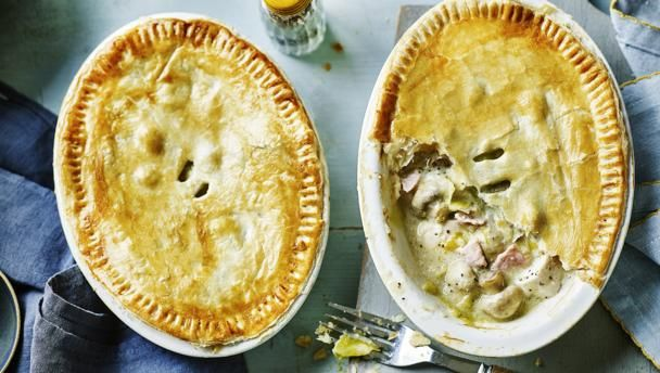 Lighter chicken, bacon and leek pies  |      This chicken pie is easy to make and still feels like a proper pie - even though it's lower in calories. Serve with steamed veg, it's so filling you don't need anything else.For this recipe you will need two individual pie dishes (about 400ml/14fl oz).Each serving provides 344kcal, 41g protein, 12g carbohydrate (of which 8g sugars), 14g fat (of which 6g saturates), 3g fibre and 1.5g salt.