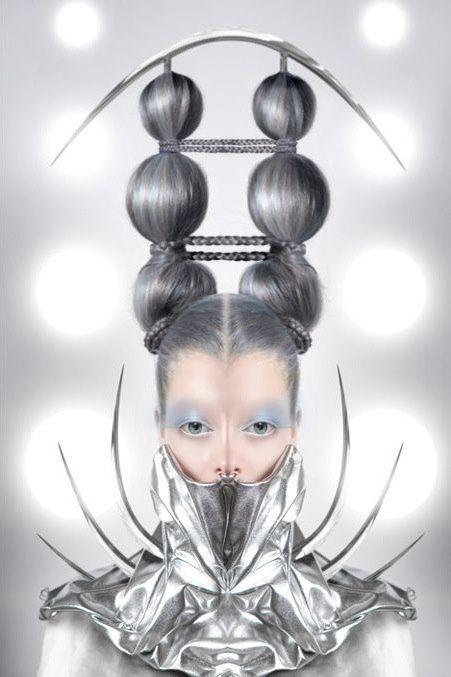 Futuristic Fashion, Future Girl, Silver, Avant-Garde, silver clothing, futuristic style, hairstyle, futuristic look,futuristic make up,cyber by FuturisticNews.com