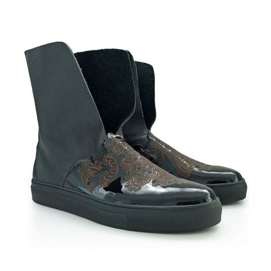 Black leather boots - romanian designers