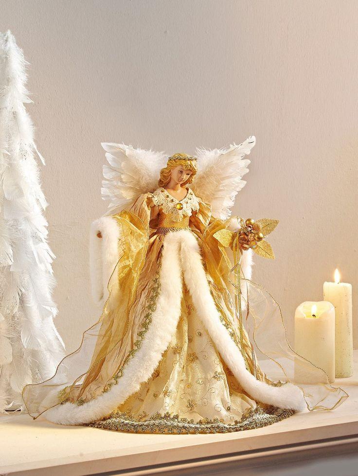 engel met goud cremekleurige jurk die ook als piek op de kerstboom kan worden gebruikt hoofd en handen van kunsthars vleugels van veren jurk van textielmateriaal afm l b h ca 25 27 43 cm