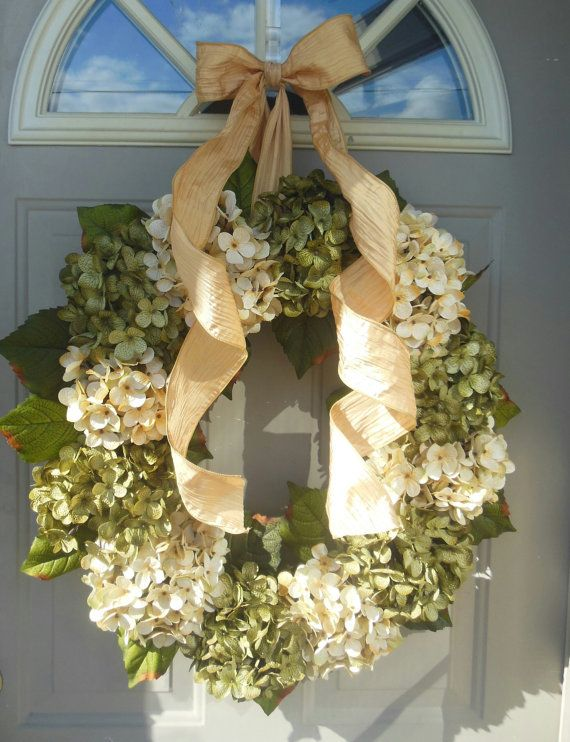 Spring Hydrangeas Front Door Wreaths Traditional Wreaths