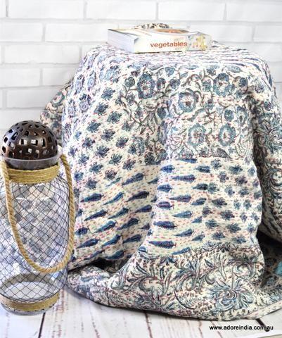 Blue Khadi Hand Block Kantha Quilt