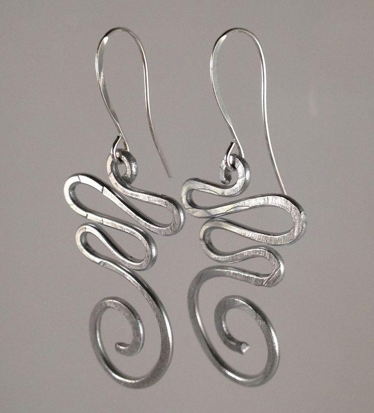 Spiral Earrings Silver Wire Wrapped Earrings Modern Jewelry Teen Jewelry Wire Wrap Earrings Hammered Metal Funky Earrings ITEM0110. $11.95, via Etsy.