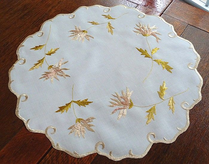 Em's Heart Antique Linens -Antique Society Silk Embroidered Centerpiece Doily