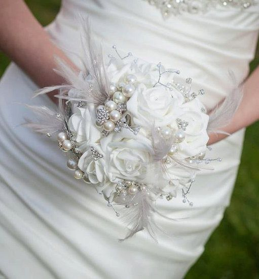 Brooch Bouquet  Jeweled Bouquet  Feather by savingfacejewellery, £185.00