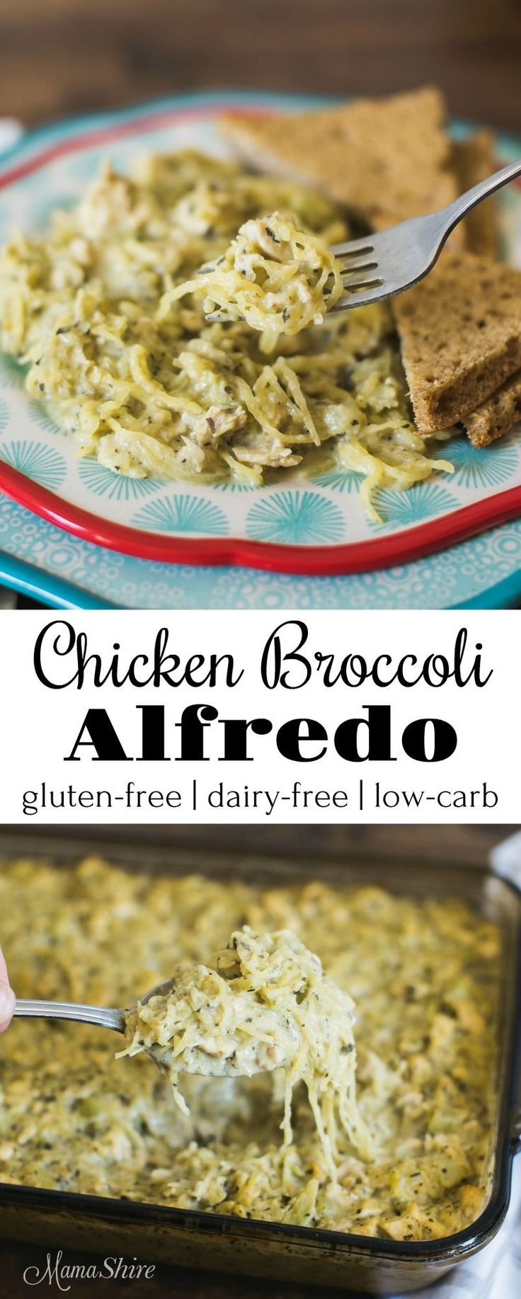 Delicious Chicken Broccoli Alfredo made with spaghetti squash. Gluten free, Dairy free, Low carb, and Trim Healthy Mama-S