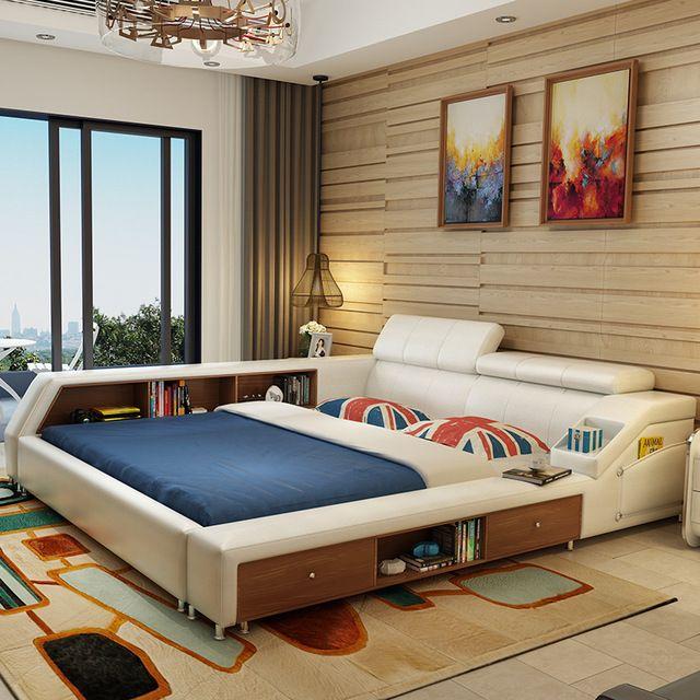 Роскошные наборы мебели для спальни современный кожаный двуспальная кровать с двумя боковыми шкафы белый цвет без матраца