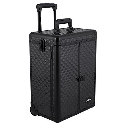 SUNRISE Professional Makeup Case on Wheels Aluminum, French Doors, 4 Small Drawers, Adjustable Dividers Top Compartment, Locking with Mirror, Black Diamond E6305