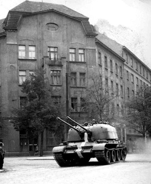 Soviet ZSU-57-2 during Operation Danube, Czechoslovakia, August 1968