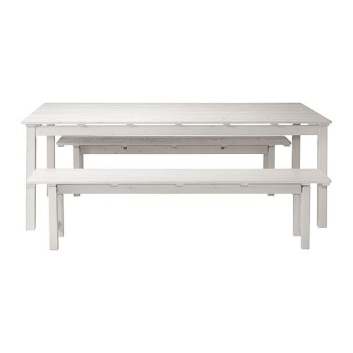 ÄNGSÖ Table and 2 benches - white - IKEA