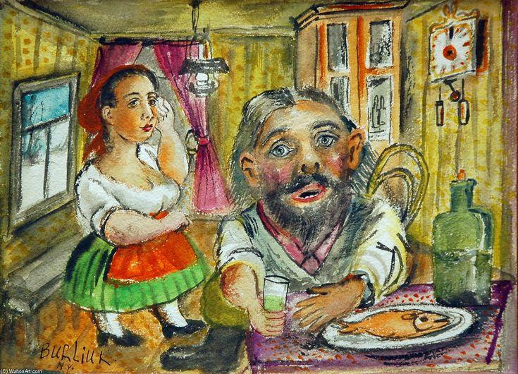 'Tea time', Watercolour by David Burliuk (1882-1967, Ukraine)