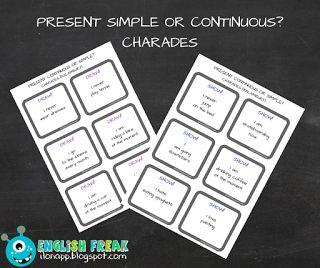 English Freak | Blog o nauczaniu języków obcych: PRESENT SIMPLE OR CONTINUOUS? CHARADES