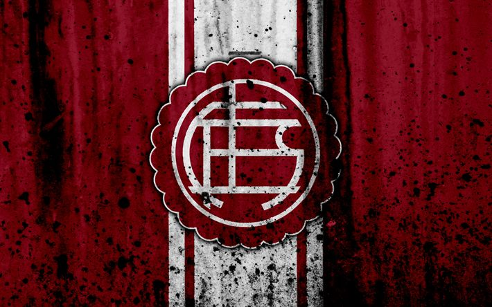 Download wallpapers 4k, FC Lanus, grunge, Superliga, soccer, Argentina, logo, Lanus, football club, stone texture, Lanus FC