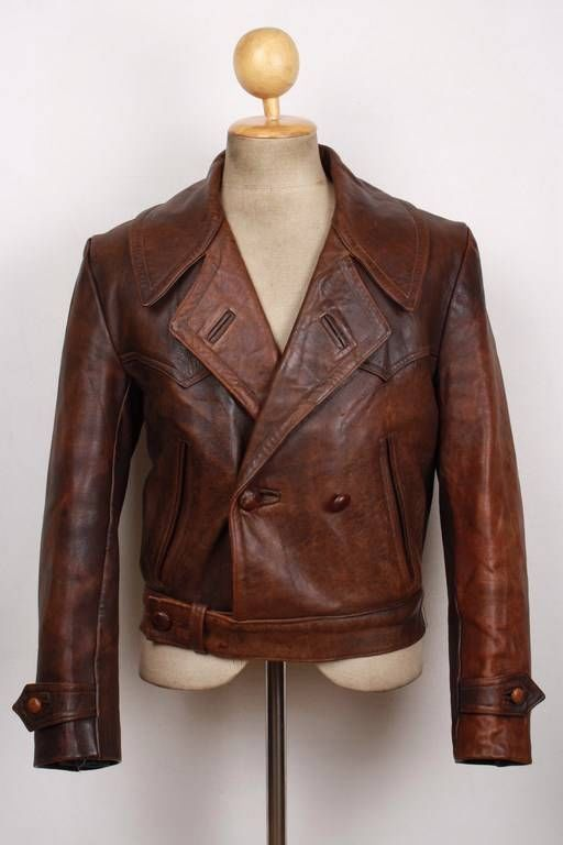 Vtg 1940s WWII Horsehide Leather Cyclist Jacket