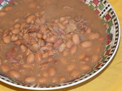 Ham and pinto bean soup, reminds me of the beans my grandma used to ...