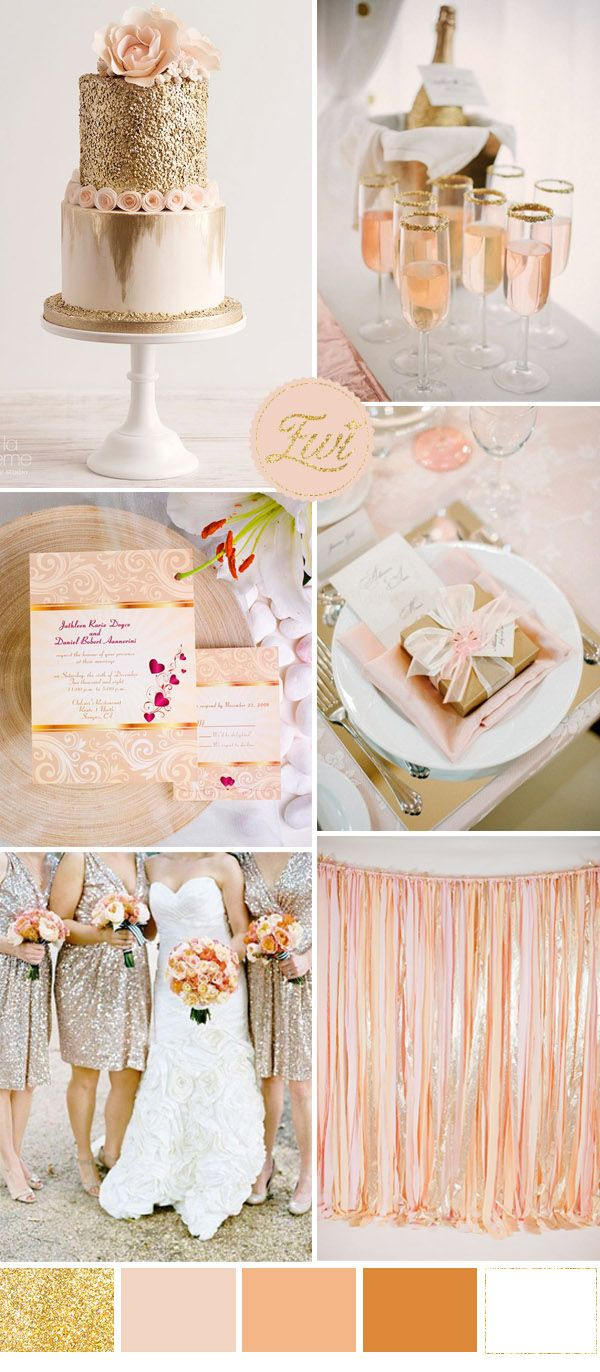 romantic peach and gold sequin wedding ideas and invitations