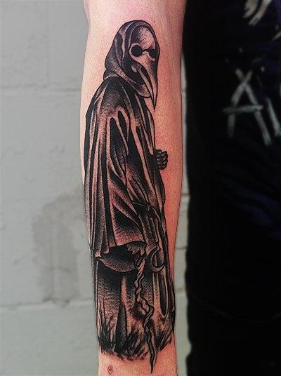Mike Adams - plague doctor tattoo. @Gillian Lanyon Foxtrot @Jenna Nelson Mae - reminds me so much of Artaud! #Ilovetheatreofcruelty