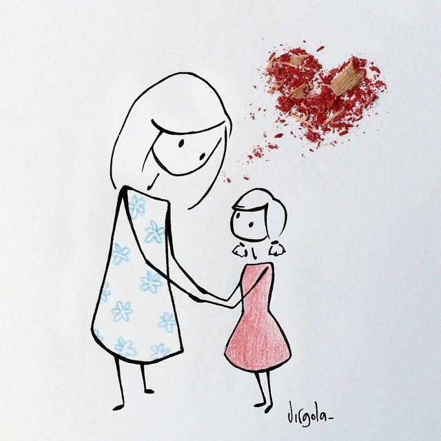 """Virgola by Virginia Di Giorgio To say the word """"mom"""" mouth kissing twice. Happy mother's day [Per pronunciare la parola """"mamma"""" la bocca bacia due volte.] Auguri a tutte le mamme del mondo ❤️❤️❤️ #virginiasdraws #mothersday"""