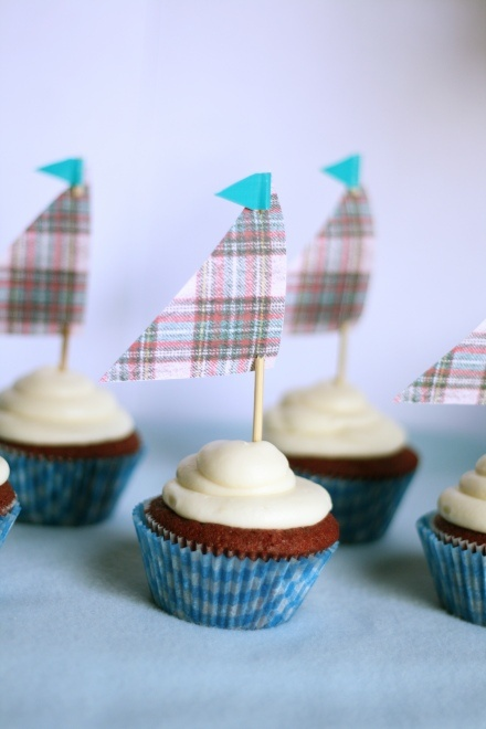 """""""Ahoy! ~It's a Boy!!"""" ~ Sailboat Cupcakes <3 {darling for a baby shower}"""
