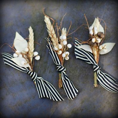 Very cool boutonnieres for a fall wedding