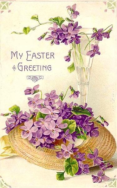 Vintage violets Easter postcard