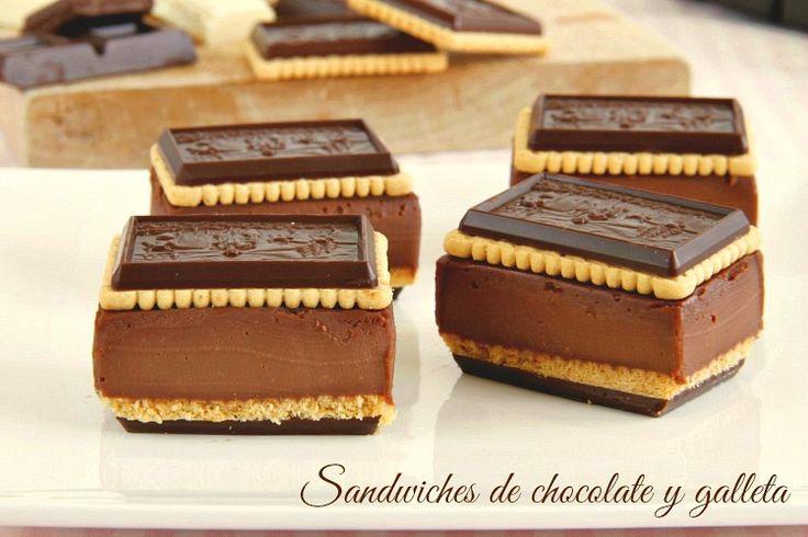 """¡Qué ricos están estos """"sandwiches de chocolate y galleta"""" de Sandra Mangas!. Ya son habituales en las celebraciones de cumples en casa porque a los peques (y no tan peques, jajaja) les encantan. La r"""