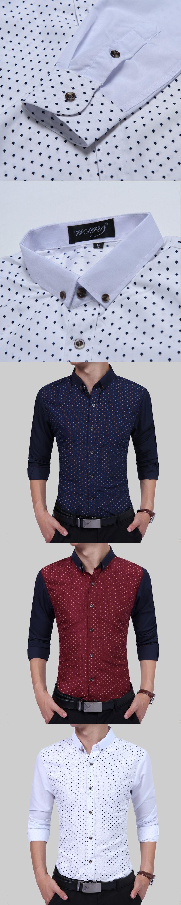 2017 New Autumn Fashion Brand Men Clothes Slim Fit Men Long Sleeve Shirt Men Polka Dot Casual Men Shirt Social Plus Size 3XL