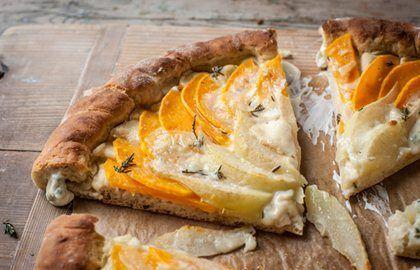 Butternut squash, pear and gorgonzola flatbread tart