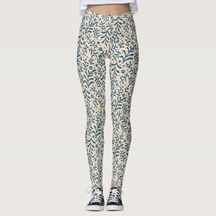 Calico Blue and Cream Leggings - pattern sample design template diy cyo customize