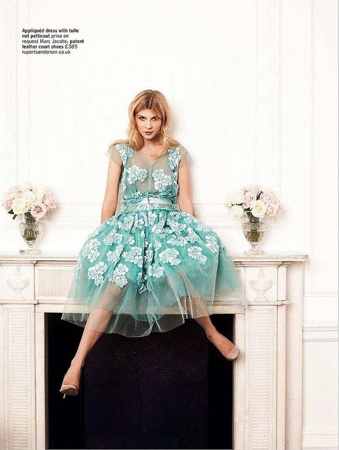 I'll become a cute happy princess with this floral blue marc jacobs dress: Clemence Poesy, Fashion, Inspiration, Style, Clemence Poesy, Glamour Uk, Dresses, Clemencepoesy, Marc Jacobs