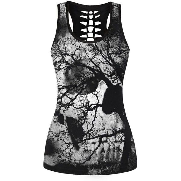 FISACE Halloween Women's Skull Print Hollow Out T-shirt Crew Neck... ($12) ❤ liked on Polyvore featuring tops, crew neck tank top, plus size cami, plus size sleeveless tops, skull tank tops and camisole tank top