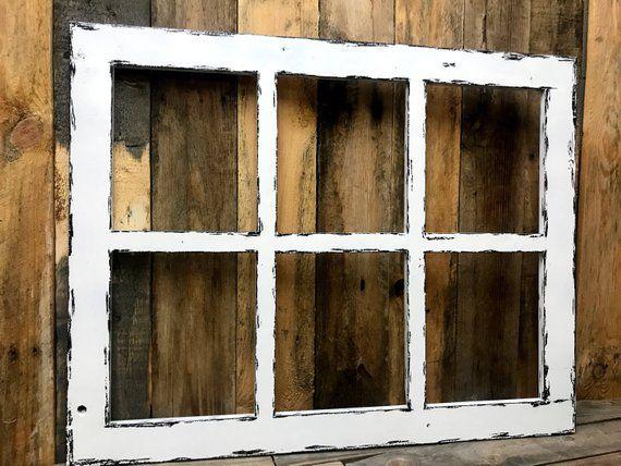 Rustic Window Frame Farmhouse Window Old Window Faux Window White Window Window Frame 6 Pane Window Rustic Window Frame Window Frame Decor Rustic Window
