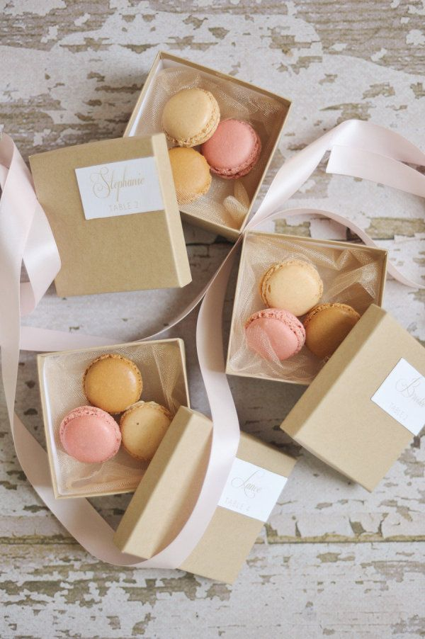 macaron sweets in the prettiest packaging for guests  Photography By / rebekahwestover.com, Styling, Design   Coordination By / attention2detailevents.com