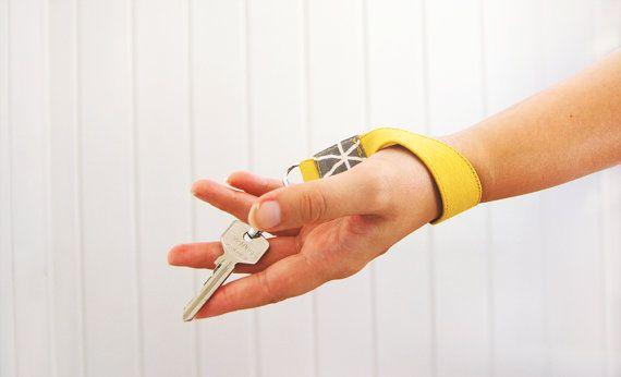 Mustard wristlet keyfob  yellow keychain lanyard  by FindingNorth