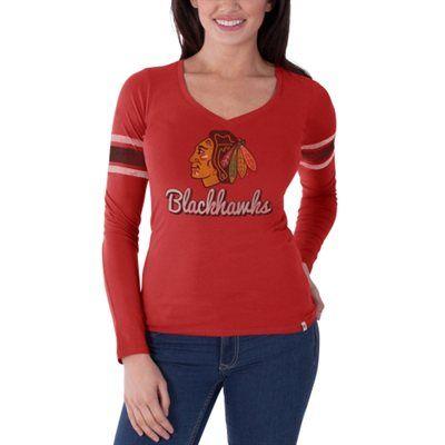 Women's Chicago Blackhawks '47 Brand Red Homerun Long Sleeve T-Shirt