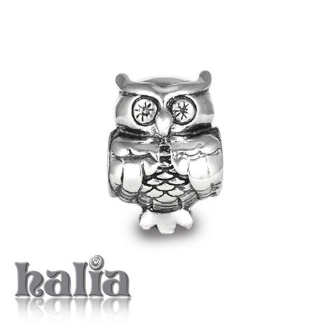 Wisdom: Owl bead: designed exclusively by Halia, this bead fits other popular bead-style charm bracelets as well. Sterling silver, hypo-allergenic and nickel free.     $35.00