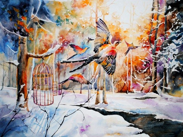 Christmas etude - bright watercolor, winter light, birds, forest http://ranrog.ru/en/Watercolors.aspx#