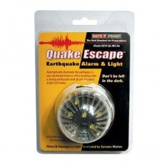 QUAKE ESCAPE: 48-Hour Emergency LED Light & Earthquake Alarm  The only 48-hour LED emergency light & earthquake alarm!  Quake Escape is activated by the detection of seismic waves.  A loud, audible alarm & bright LED lights guide the way to safety.  Quake Escape can save lives. It's a must-have for all environments.