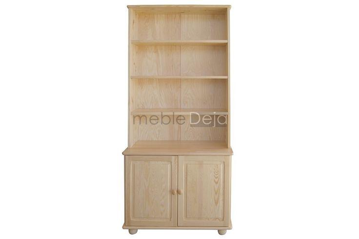 Regał, biblioteczka drewniana sosnowa[41] Regał, biblioteczka wykonana w całości z drewna sosnowego. Jedynie na tyłach i dnach szuflad montowana jest sklejka sosnowa/płyta pilśniowa.  Elementy są w 100% drewniane, fronty mebli wykonane są z bezsęcznego drewna sosnowego. W drzwiach zamontowane są zawiasy puszkowe charakteryzujące się dużą wytrzymałością. Uchwyty w formie gałek drewnianych,nogi drewniane.Produkt dostępny w pełnej gamie kolorystycznej.Wymiary zewnętrzne:szer:90cm, wys 190cm,gł…