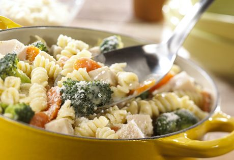 Turkey Broccoli Twists  If you've got a saucepan and 30 minutes, you can make this fully-loaded pasta dish with turkey, veggies and a creamy sauce.