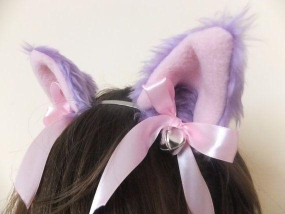 Lilac Light Purple Furry Cosplay Cat Neko Ears Ribbons Bells Headband Hairband Alice band Kawaii Halloween Costume Festival Fursuit Cute