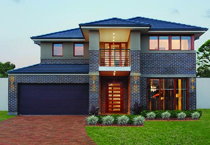 Sherwood 42 || Double storey home design with a striking entry foyer and magnificent winding staircase. The design has five bedrooms plus a study/sixth bedroom, five separate living zones and a double garage
